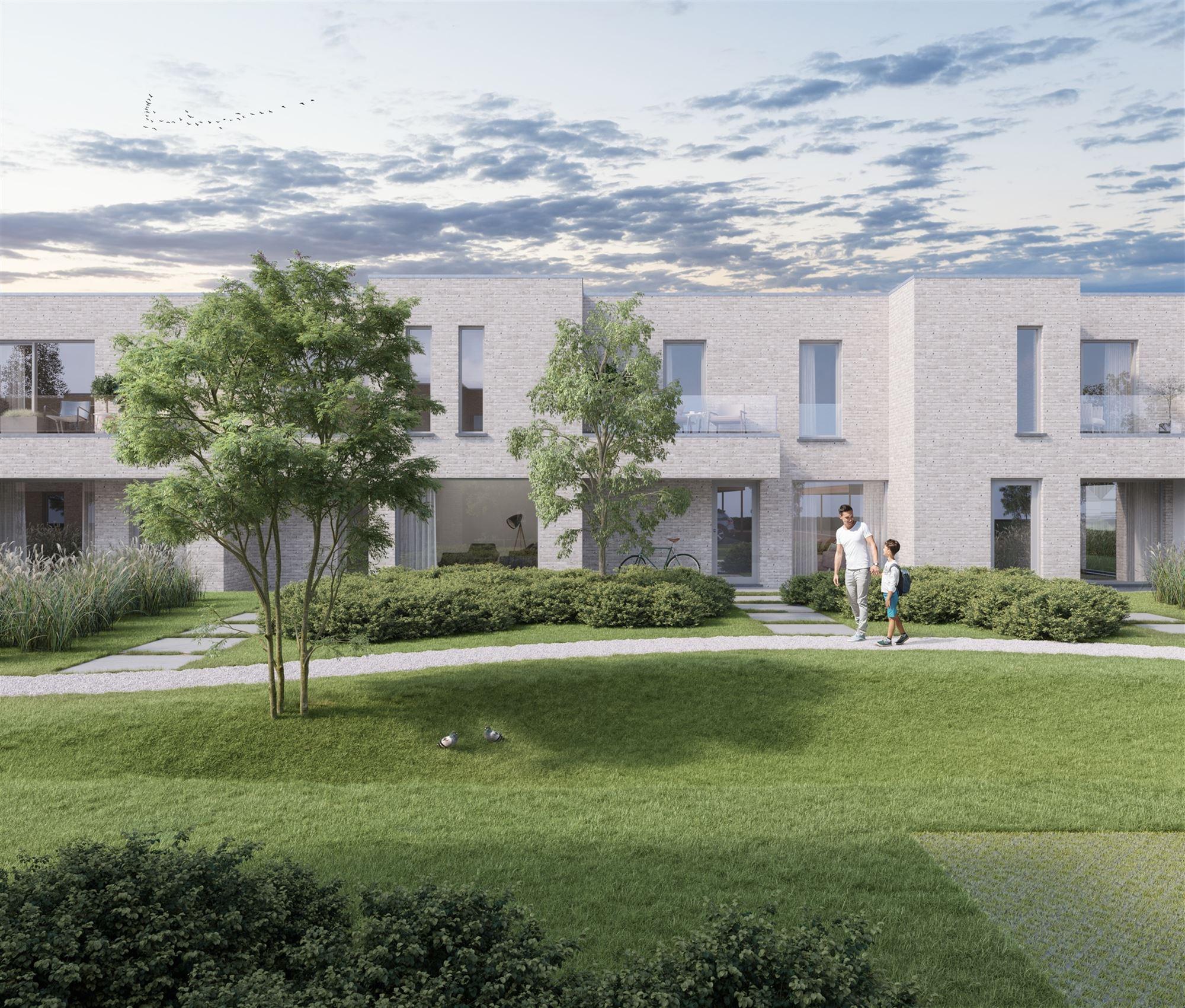 """Het project """"Affligemdreef"""" bestaat uit 11 energiezuinige nieuwbouwwoningen en omvat zowel halfopen als gesloten bebouwingen. Vooraan het project staa..."""
