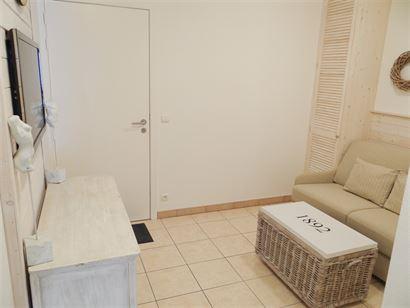 TE HUUR OP JAARBASIS - knus en modern ingerichte studio - centraal gelegen met zonneterras - living met divanbed 1x2 - ingerichte keuken met vaatwas, ...