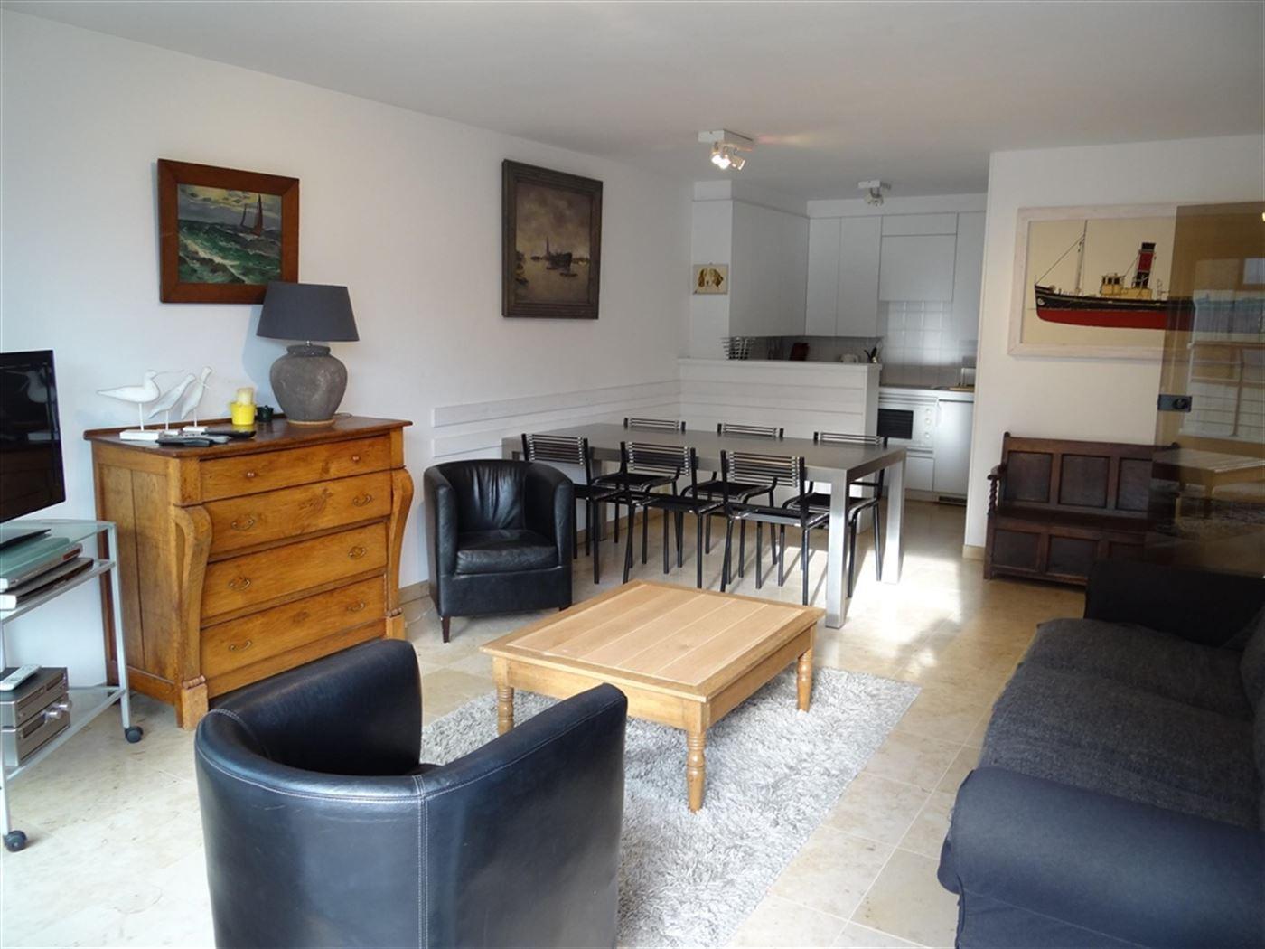 TE HUUR OP JAARBASIS - zongericht appartement met zijdelings zeezicht - ingerichte open keuken met frigo, vaatwas, combi microgolfoven en elektrisch f...