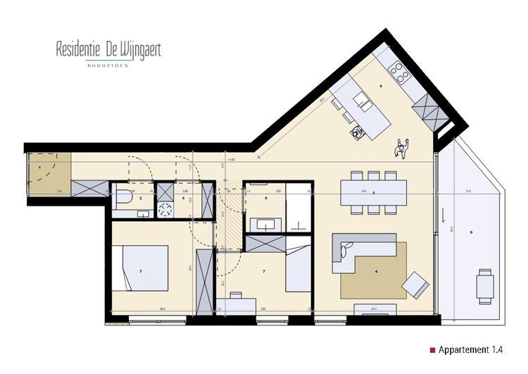 Foto 5 : nieuwbouw appartement te 2820 BONHEIDEN (België) - Prijs € 319.500